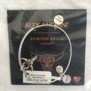 NEW Alex and Ani Spirited Skull Silver Bangle